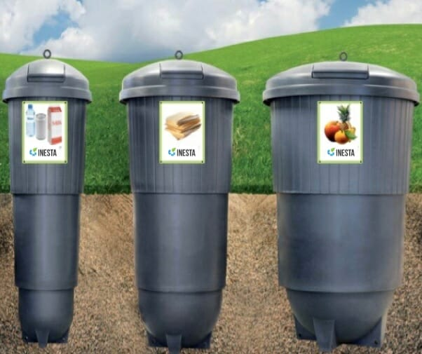 Semi-underground waste collection system